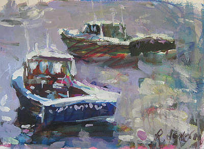 Poster featuring the painting Two Lobster Boats by Robert Joyner