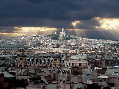 Vue De La Butte Montmartre.roofs Of Paris Poster by Bernard Jaubert