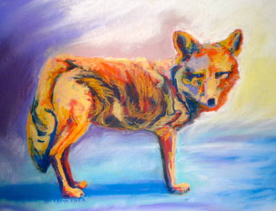 Poster featuring the pastel Watching Coyote by Pat Crowther
