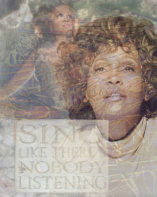 Whitney Houston Sing Poster by Cindy Wright