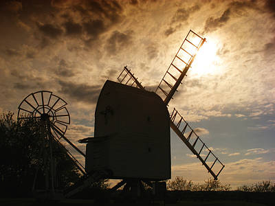 Windmill At Dusk  Poster by Pixel Chimp
