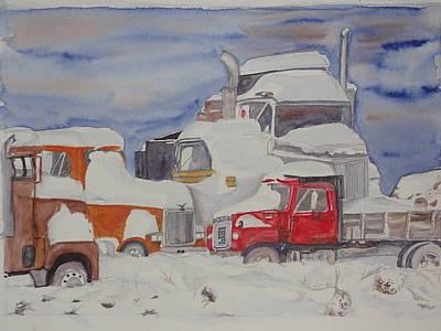 Winter Truck Yard Poster
