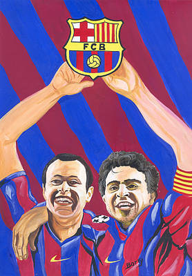 Poster featuring the painting Xavi And Iniesta by Emmanuel Baliyanga