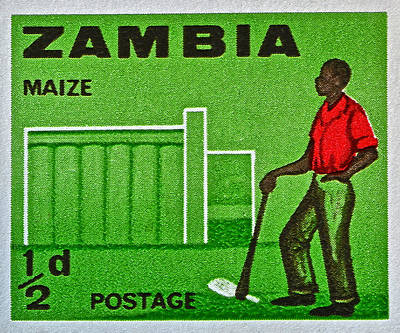 Firefighter Patents Royalty Free Images - 1964 Zambia Farmer Stamp Royalty-Free Image by Bill Owen
