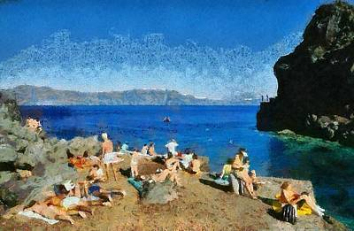 Swim Painting - Ammoudi Beach by George Atsametakis