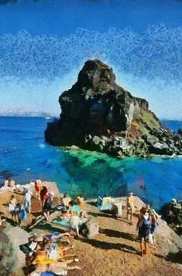 Santorini Painting - Ammoudi Beach by George Atsametakis