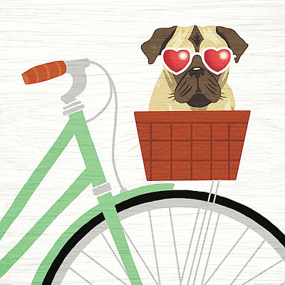 Brown Dog Painting - Beach Bums Pug Bicycle I by Michael Mullan