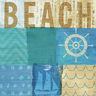 Dots And Lines Painting - Beachscape Collage Iv by Michael Mullan