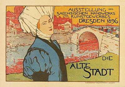 Art Nouveau Flower Digital Art - Die Alta Stadt - Art Nouveau by Georgia Fowler