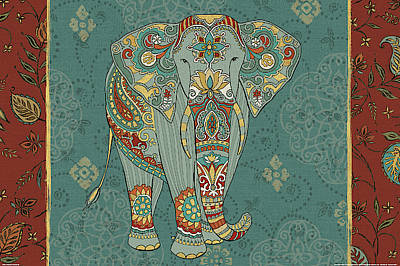Yellow Elephant Painting - Elephant Caravan Ib by Daphne Brissonnet