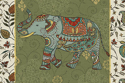 Yellow Elephant Painting - Elephant Caravan IIf by Daphne Brissonnet