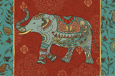 Yellow Elephant Painting - Elephant Caravan IIm by Daphne Brissonnet