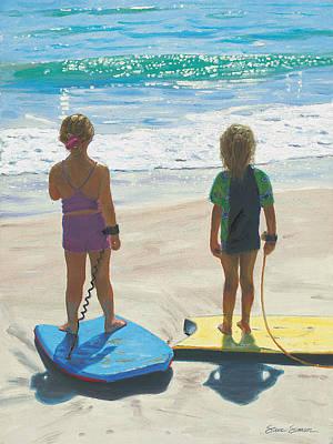 Laguna Beach Painting - Girls On Boogie Boards by Steve Simon