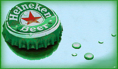 Beer Paintings - Heineken Cap Blue by Tony Rubino