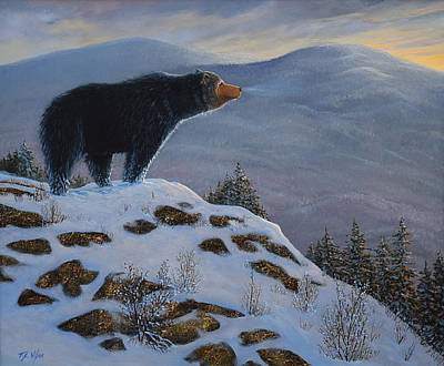 Snowscape Painting - Last Look Black Bear by Frank Wilson