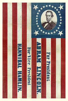Politicians Royalty-Free and Rights-Managed Images - Lincoln 1860 Presidential Campaign Banner by John Stephens