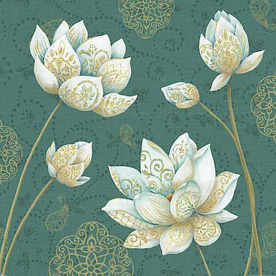 White Lotus Painting - Lotus Dream Ivb by Daphne Brissonnet