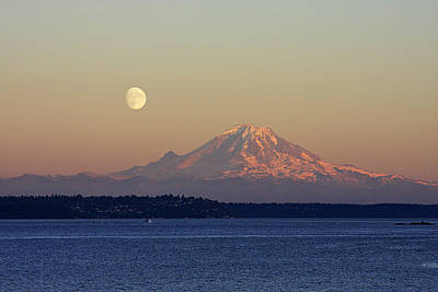 Mountain Rights Managed Images - Moon Over Rainier Royalty-Free Image by Adam Romanowicz