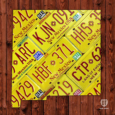 Usa Mixed Media - New Mexico License Plate Map by Design Turnpike