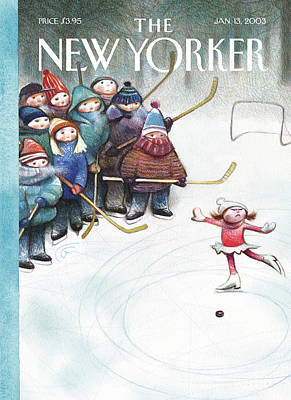 Ice Hockey Painting - New Yorker January 13th, 2003 by Carter Goodrich