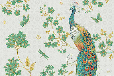 Gild Painting - Ornate Peacock Iv by Daphne Brissonnet