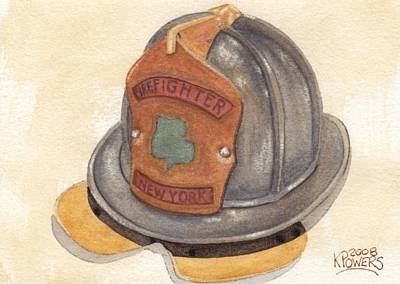 Painting - Proud To Be Irish Fire Helmet by Ken Powers