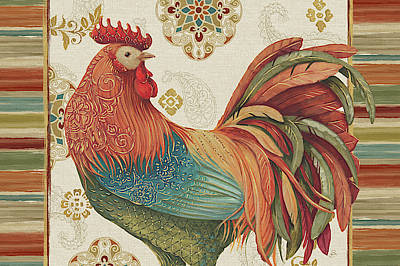 Medallion Painting - Rooster Rainbow Ia by Daphne Brissonnet