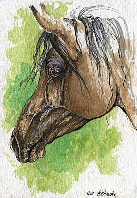 Horse Drawing Painting - The Bay Arabian Horse 20 by Angel  Tarantella