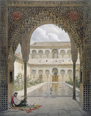 Works Drawing - The Court Of The Alberca by Leon Auguste Asselineau