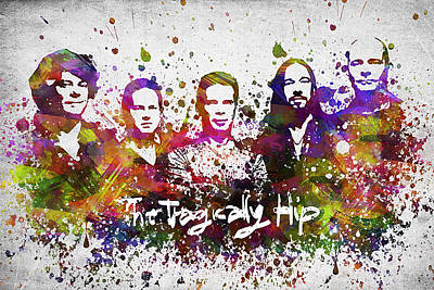 Musicians Digital Art Rights Managed Images - The Tragically Hip in Color Royalty-Free Image by Aged Pixel