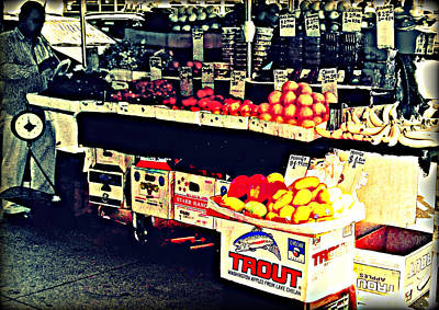 Art Print featuring the photograph Vintage Outdoor Fruit And Vegetable Stand - Markets Of New York City by Miriam Danar