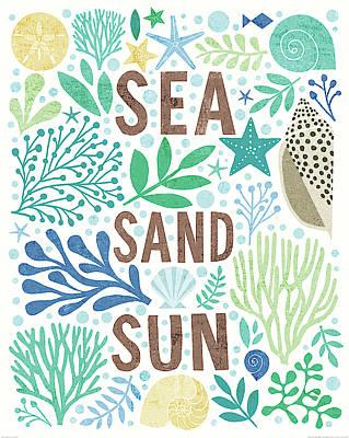 Sand Dollar Painting - Under Sea Treasures IIi Sea Glass by Michael Mullan