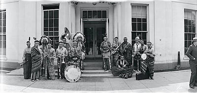 White House Photograph - Us Indian Band Washington Dc by Fred Schutz Collection