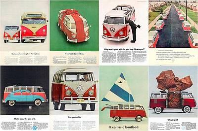 Hippie Van Digital Art - Volkswagen Camper Collage by Georgia Fowler