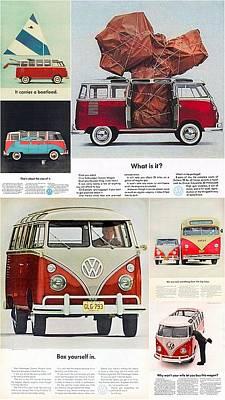 Hippie Van Digital Art - Vw Camper Collage by Georgia Fowler