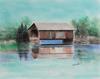 Pastel - Covered Bridge Allegheny County by Paul Cubeta