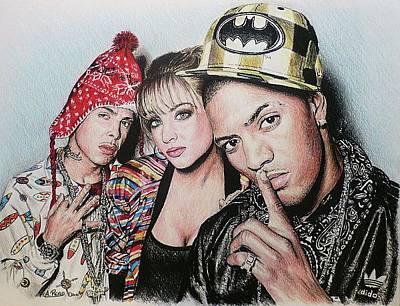 Rap Drawing - N-dubz by Andrew Read