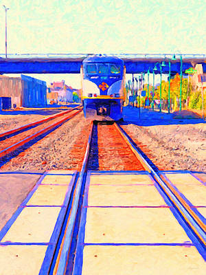 Amtrak Train . Photo Art Art Print by Wingsdomain Art and Photography