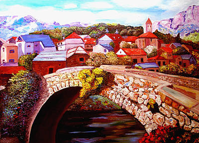 Painting - Bielsa Village Bridge by JoeRay Kelley