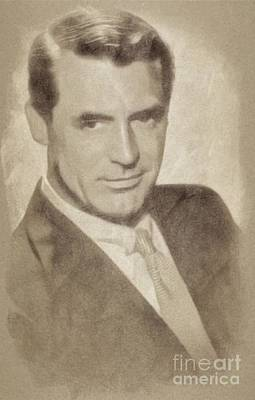 Musicians Drawings - Cary Grant, Hollywood Legend by John Springfield by John Springfield