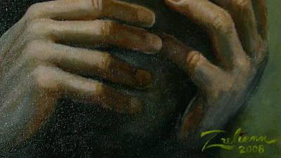 Detail - Temptation Of Christ Art Print by R Zulienn