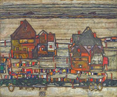 1890 Houses Painting - Houses With Laundry  by Egon Schiele