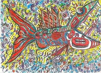 Contemporary Abstract Drawing - Peace Funky Folk Fish by Robert Wolverton Jr