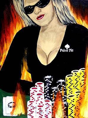 Sexy Poker Girl Original by Teo Alfonso