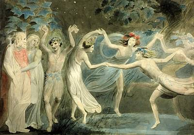 Fairy Painting - Titania And Puck With Fairies Dancing by William Blake