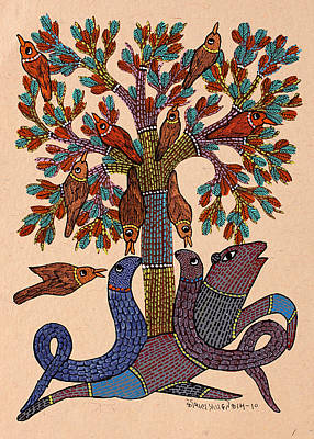 Gond Painting - Untitled by Koushal Prasad Tekam
