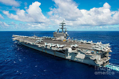 Politicians Royalty-Free and Rights-Managed Images - USS Ronald Reagan by Celestial Images