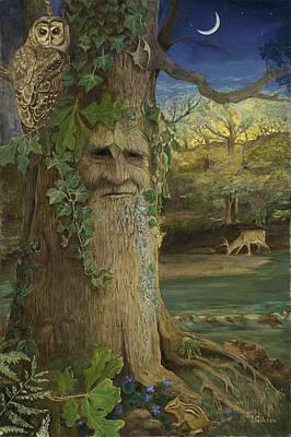 Greenman Painting - Wise Old Oak by Joyce Gibson