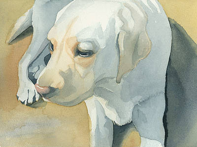 Earth Tones Painting - Yellow Lab by Mike Lawrence