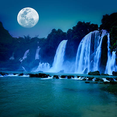 Moonlit Night Photograph - Waterfall by MotHaiBaPhoto Prints